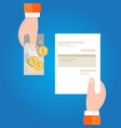 pay invoice bill holding paper and cash money vector image