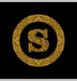 premium elegant capital letter s in a round frame vector image vector image