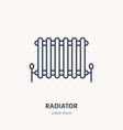radiator flat logo line icon house heating vector image vector image
