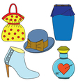 Set of shoes bag skirt hat and perfume bottle vector image vector image