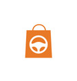 shopping bag car store shop buy sell logo vector image