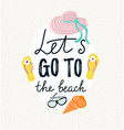 Summer banner with beach accessories hand drawn vector image vector image