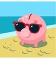 Summer piggy bank vector image