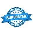 superstar ribbon superstar round blue sign vector image vector image