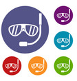 swimming mask icons set vector image vector image