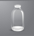 template of empty tall transparent glass bottle vector image vector image