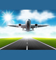 the airplane flying over the runway vector image vector image
