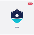 two color gdpr icon from concept isolated blue vector image vector image