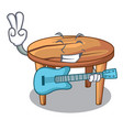 with guitar cartoon wooden dining table in kitchen vector image