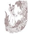 Zen Tangle deer in a flower vector image