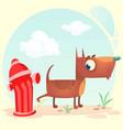 cartoon funny brown pitbull dog vector image