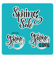 lettering of brush hello spring and spring sale vector image