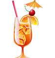 Cocktail Bahama Mama with ice and garnish vector image