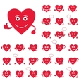 Valentine hearts smileys set vector image