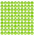 100 baby icons set green vector image vector image