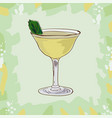 basil gimlet cocktail alcoholic classic bar vector image