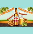 beer bottle and pretzel realistic fresh vector image vector image