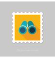 Binoculars flat stamp Summer Marine vector image vector image