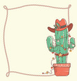 cactus christmas with cowboy hat and lasso frame vector image vector image