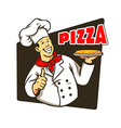 Chef Cooking Pizza vector image vector image