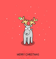 Christmas doodle greeting card with deer vector image