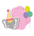 cute and little elephant with party hat vector image vector image