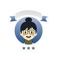 cute girl cartoon character label vector image vector image