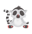 cute lemur meditating with closed eyes animal vector image
