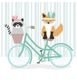 cute raccoon and fox with feathers hats in bicycle vector image vector image