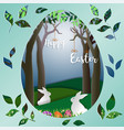 easter eggs with white rabbits on green grass vector image vector image