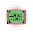 Electrocardiogram monitor comics icon vector image vector image