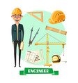 engineer with tool icon for profession design vector image vector image