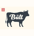 farm animals set isolated bull silhouette and vector image
