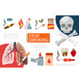 flat stop smoking elements composition vector image