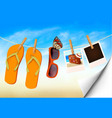 flip flops sunglasses and photo cards hanging on vector image vector image