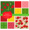 Floral Seamless Patterns - Poppy Theme vector image vector image