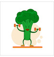 fun broccoli with dumbbells in their hands vector image vector image