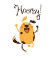 funny dog yells hooray in vector image
