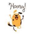 funny dog yells hooray in vector image vector image