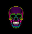 graphic print of stylized psychedelic skull on vector image vector image