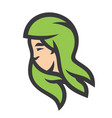 green hair girl silhouette sign vector image