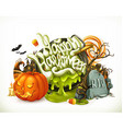 Halloween 3d emblem Set of cartoon characters and vector image vector image