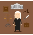 Judge with court and justice icons vector image vector image