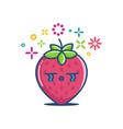 kawaii crying strawberry emoticon cartoon vector image vector image