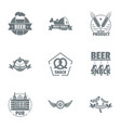 make beer logo set simple style vector image vector image
