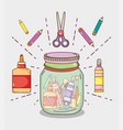 mason jar with craft supplies vector image
