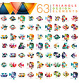 mega collection of 63 modern color triangles vector image vector image