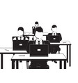 men and women working in a call center black and vector image vector image