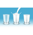 milk pouring or falling into glass or cup vector image vector image