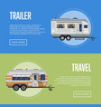 modern travel trailer flyers set vector image vector image